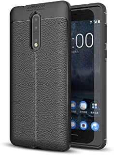NALIA Leather Look Case Compatible with Nokia 8, Silicone Ultra-Thin Protective Phone Cover Rubber-Case Premium Gel Soft Skin, Shockproof Slim Back Bumper Protector Smartphone Back-Case Shell - Black