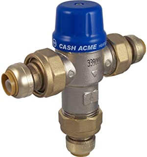 Cash Acme 24505 In-Line Thermostatic Hg110-D 3/4-Inch Mixing Valve with Sharkbite Connections And Intergral Checks