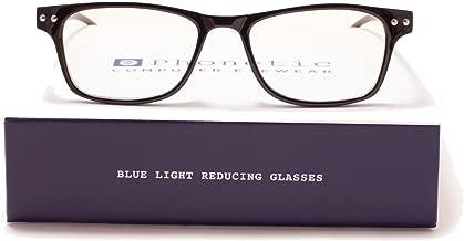Phonetic Computer Eyewear -Ashton - FDA Registered, UVA/UVB Protection - Digital Eye Strain Prevention, Blue Light Blocking Eyeglasses | Comes with Customized Slip in Case and Cloth - Size 48-20-136