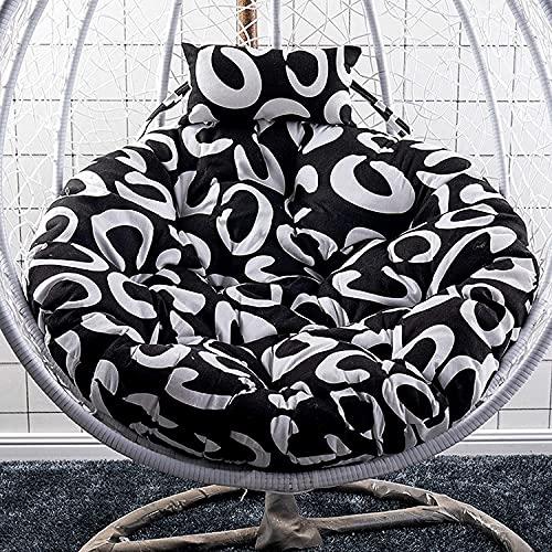 WSVULLD Cojín de silla de swing de cesta colgante, cojín de asiento de columpios de color multicolor lavable, silla colgante de nido grueso espalda con almohada, para interiores, al aire libre, patio,