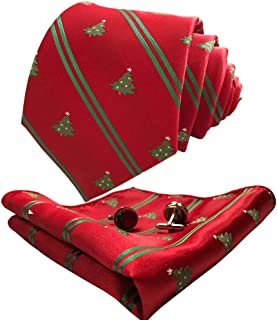 CANGRON Men Classic Tie Set Color Options Necktie with Pocket Square Cufflinks +Giftbox LSH8ZH