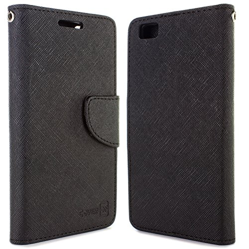 Huawei P8 Lite Case, CoverON [Carryall Series] Flip Folio Card Slot Pouch Cover + Strap + Stand Wallet Case for Huawei P8 Lite - Black & Black