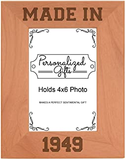 ThisWear 70th Birthday Gift Made 1949 Milestone Natural Wood Engraved 4x6 Portrait Picture Frame Wood