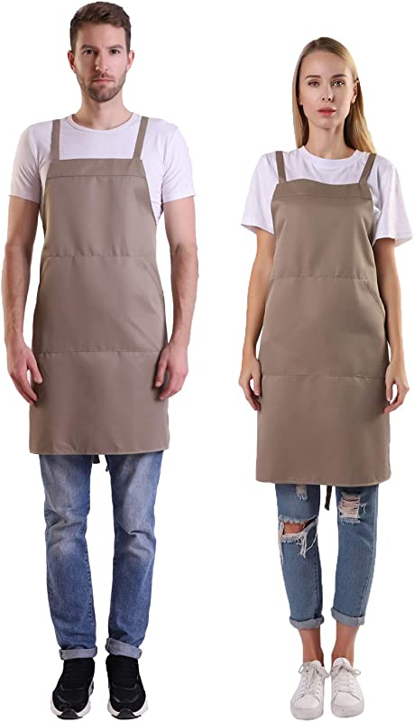 BIGHAS Shoulder Apron With Pocket For Women Men Extra Long Straps Adjustable Size Chef Kitchen Home Restaurant Cooking Baking 12 Colors Tan