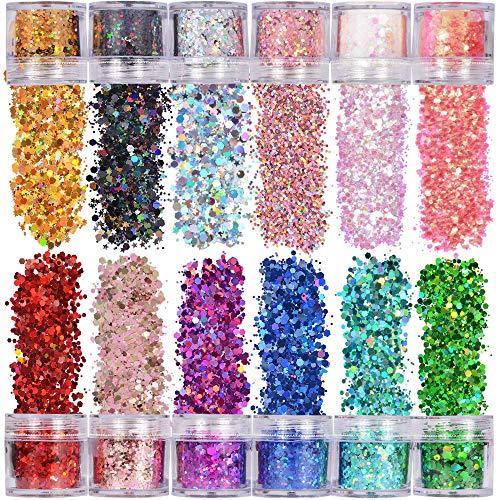 XUBX 12 Colori 10ml Set di polvere glitter per unghie, Glitter Cosmetici Lustrini Brillantini Decorazioni, Glitter per Unghie, Chunky Sparkle, Glitter Set per Viso Corpo Capelli Nail Art