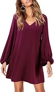SOLERSUN لباس توری نوعی پارچه ابریشمی گاه به گاه آستین بلند V و گردن لباس تاب تاب و شل