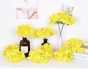 LI HUA CAT Artificial Flowers 10pcs Artificial Hydrangea Silk Centrepieces and Arrangement Real Touch Flowers for Home Decor Wedding Parties (Yellow)