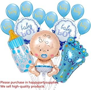 13pcsBaby Shower Decorations for Boy It's A Boy Foil Latex Balloon Set Large Baby Bottle Feet Balloon Baby Shower Birthday Helium Balloons Party Decoration Supplies