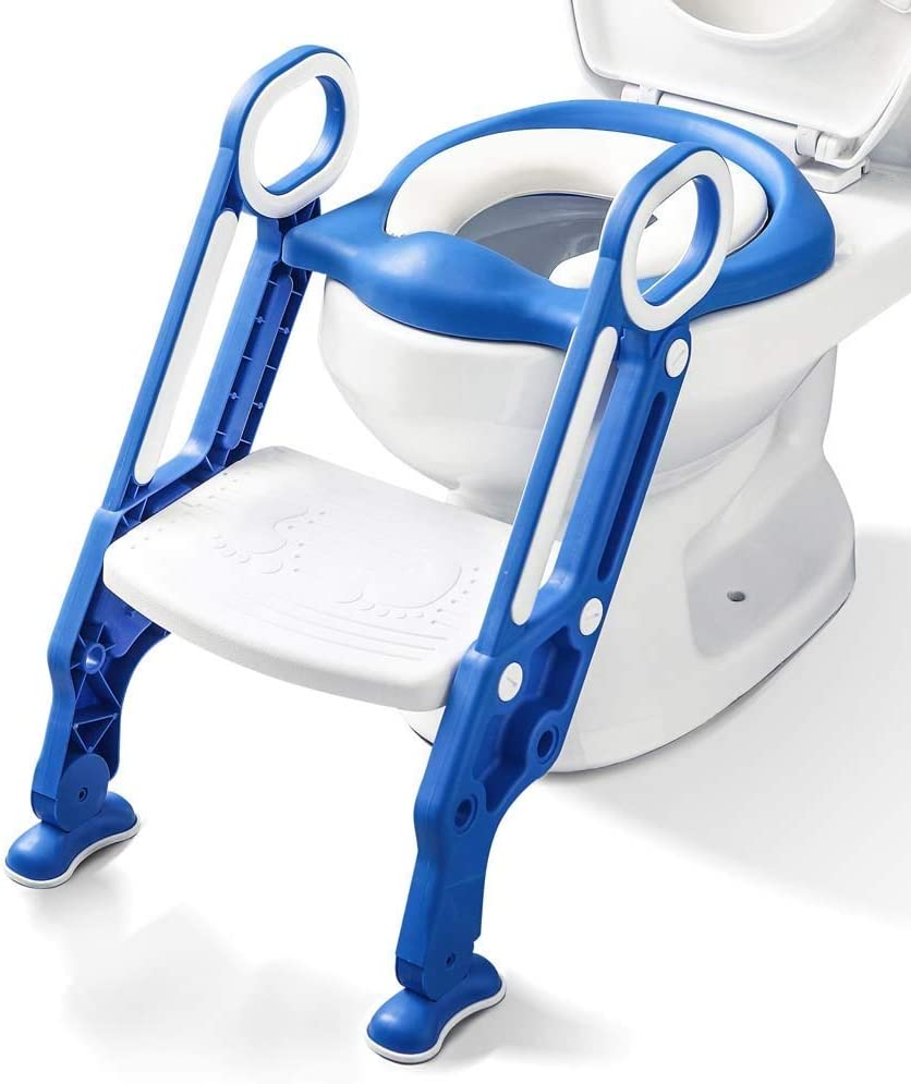 Potty Training Seat with Step Stool Ladder and Handles for Baby Toddler Kid Children Boys and Girls Toilet Training Chair with Padded Soft Cushion and Non-Slip Wide Step (Blue White)