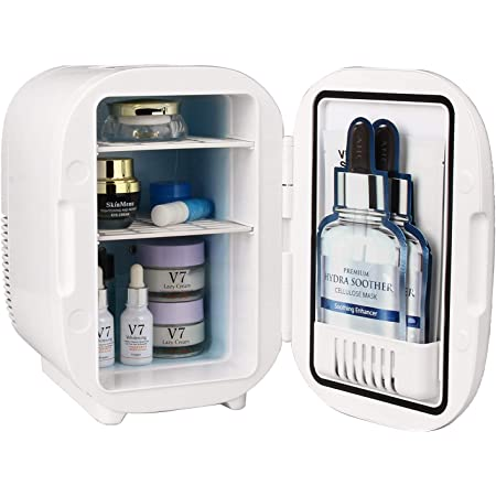 Relavel Skincare Fridge Mini Fridge 6 Liter/8 Can AC/DC Power Portable Cooler Warmer Makeup Refrigerator Beauty Cosmetic Fridge for Makeup Accessories and Tools Great for Bedroom, Office, Car, Dorm