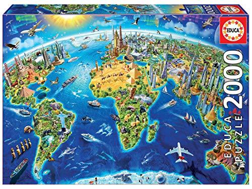 Educa- Símbolos del Mundo Puzzle, 2000 Piezas, Multicolor (17129)