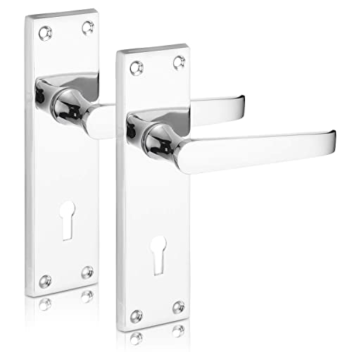 Victorian Polished Chrome Lever Straight Lock Key HoleDoor Handles