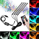 Tira LED para Coche, Winzwon Luces Led Coche Para Coche con 48 LED DC 12V Multi Color Music Car Ambiente Luz de tira Kit Impermeable con Control Remoto Inalámbrico (USB)
