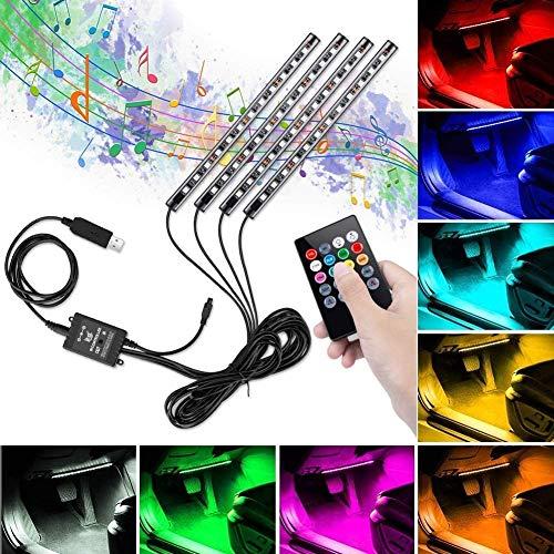 Tira LED para Coche, Winzwon Luces Led Coche Para Coche con 48 LED DC 12V Multi Color Music Car Ambiente Luz de tira Kit Impermeable con Control Remoto Inalámbrico