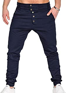 XINHEO Women's Harem Skinny Ankle Button Outdoor Cargo Pant Lounge Trousers