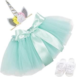 Ztl 4pcs/Set Baby Infant Photography Outfits Tutu Skirt & Floral Unicorn Headband & Barefoot Sandals