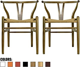 2xhome Set of 2 Walnut Wishbone Wood Armchair with Arms Open Y Back Open Mid Century Modern Contemporary Office Chair Dining Chairs Woven Seat Brown Living Desk Office