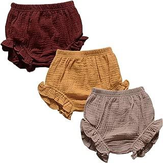 3PC Shorts Set Newborn Baby Girls Boys PP Pants Cotton Linen Blend Cute Floral Bloomers Triangle Shorts