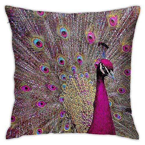 QNOQME Pillowcase Magenta Peacock Feathers Decor Throw Pillow Cover Square Hidden Zipper Cushion Pillow Case Decorative for Home Sofa Couch Outdoor Cushion Covers 18x18 Inch