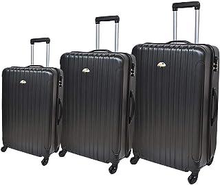 نيو ترافل حقيبة سفر صلبة بعجلات، 4 عجلات ، 3 قطع - لون اسود