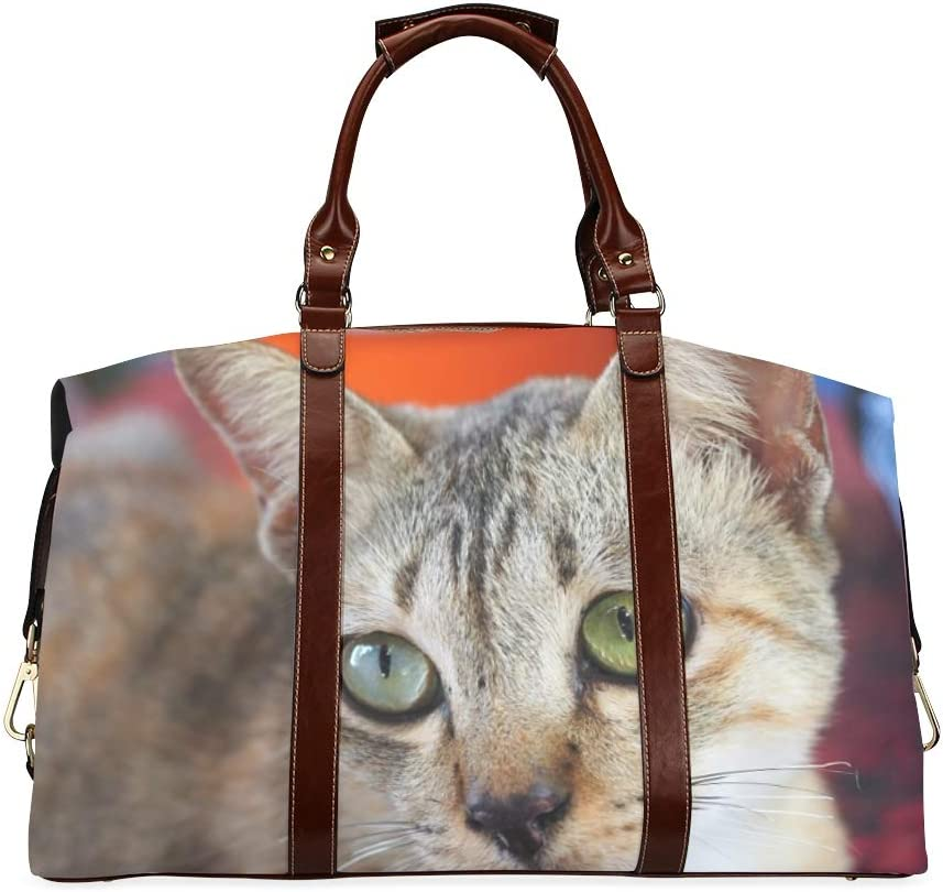 Virginia Beach Mall Camping Duffel Bag 5 ☆ very popular Cat With Classic 2 Ove Eyes Different-colored