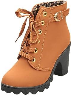 iHAZA Femme Bottines a Talon Plateforme Velours Lacer Cuir Basse Hiver Automne Fashion Elegante Confortable Boots avec De ...