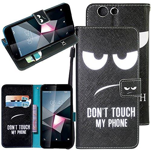 CMID Smart E8 Hülle, PU Leder Brieftasche Handytasche Flip Bookcase Schutzhülle Cover [Kartensteckplatz][Magnetverschluss][Ständer][Handschlaufe] für Vodafone Smart E8 5.0