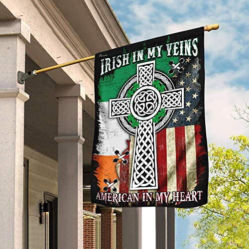 House Flags-Irish in My Veins, American in My Heart. Celtic Knot Cross Flag THN2076F-USA House Premium Polyester-Decorative Outdoor Flags