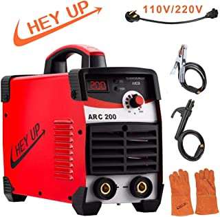 Arc Welder IGBT Welding Machine 200A Smart MMA Stick Welder DC Inverter welder with LCD Display for Beginner (Red Welder 110/220V)