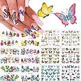 Kalolary 12 Diseño Mariposa Nail Art Pegatinas de transferencia de agua Calcomanías Deslizadores polacos Flores Cubierta completa Láminas de tatuaje para mujeres Uñas Uñas de los pies Decoración