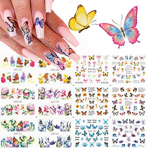 Kalolary 12 Design Schmetterling Nail Art Wassertransfer Aufkleber Abziehbilder Polnische Schieber Blumen Vollständige Abdeckung Tattoo Folien für Frauen Fingernägel Zehennägel Dekor Maniküre