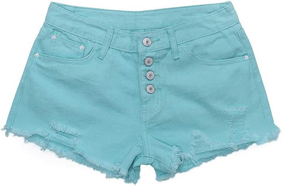 Womens High Waist Buckled Hole Denim Shorts Thin Wild Edging Hot Pants