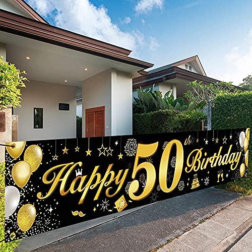 Bluelves 50 Ans Deco Anniversaire,50e Joyeux Anniversaire Bannière Guirlande,50e Anniversaire Guirlande Drapeaux Noir Or Decoration, 50 d'Anniversaire De Fête Tissu Affiche Toile de Fond
