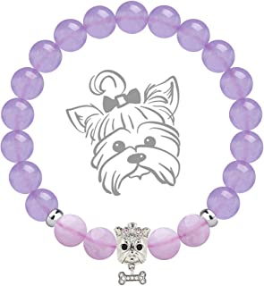 Anxiety Gemstone Bracelet Pink and Purple Chalcedony 8mm Semi Precious Beads Healing Stones Bracelet with Dog Charm Cute Mascot Bracelet Jewelry Gift for Women Girls