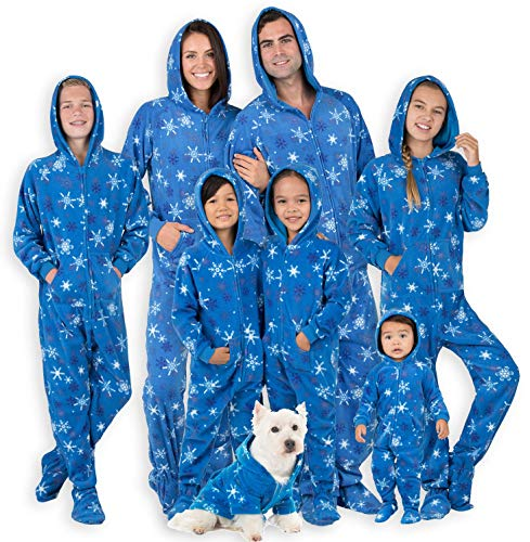 Footed Pajamas - Family Matching Snow Blizzard Day Hoodie Onesies for Boys, Girls, Men, Women and Pets - Adult - Medium (Fits 5'8-5'11')