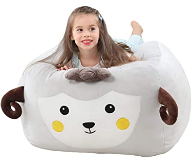 Kids Stuffed Animal Storage Bean Bag Chair Cover Sheep | 24x24x20 Inch Extra Soft Velvet Stuffed Animal Large Organizer | Decorative Room Organization for Soft Toy, Blanket, Clothes | Cover Only
