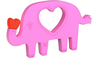 Manhattan Toy Animal Shapes Elephant Silicone Teether, Pink