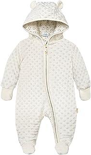 Bebé Ropa de Invierno Footed Mameluco con Capucha Traje de Nieve Fleece Peleles Monos, Beige 6-9 Meses