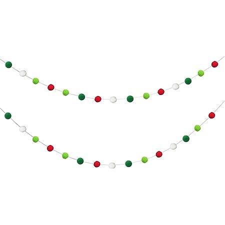 Wool Poms Red Green Blue Photo Prop Holiday Season Merry Gift Ideas Christmas Tree Decorations Winter Daze Felt Ball Garland Let It Snow