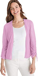 Women's Ruched Sleeve Open Cardigan Sweater