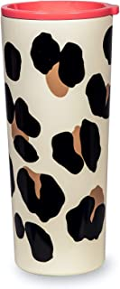 Kate Spade New York Insulated Stainless Steel Tumbler, Leopard Print 24 Ounce Double Wall Travel Cup with Lid, Forest Feline