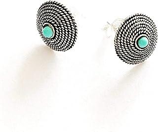 Orecchini Corbula Sarda con turchese, Argento brunito