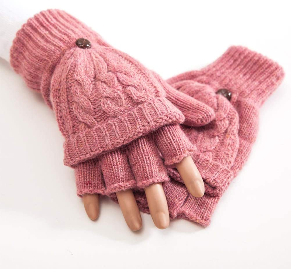 FASGION Women Half Finger Gloves Thermal Thicken Gift Mittens Autumn Winter Hand Warmer Artificial Wool Knitted Flip Soft 1 Pair (Color : Dusty Pink)