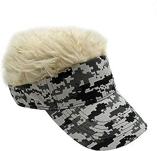 Men's Novelty Adjustable Visor Wig Skull Turban Cap Knit Hip Hop Hat (Camouflage K)