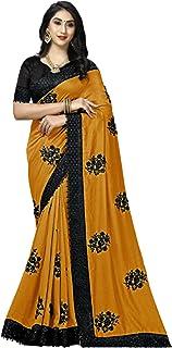 Indian Women Silk sari Designer Black Resham Embroidery Flower & Border Plain Saree Blouse 6282