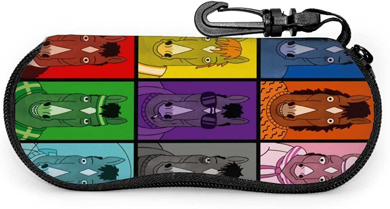 Bojack Horseman Ultra Light Zipper Eyeglass Case With Carabiner Portable Sunglasses Case Guard Set
