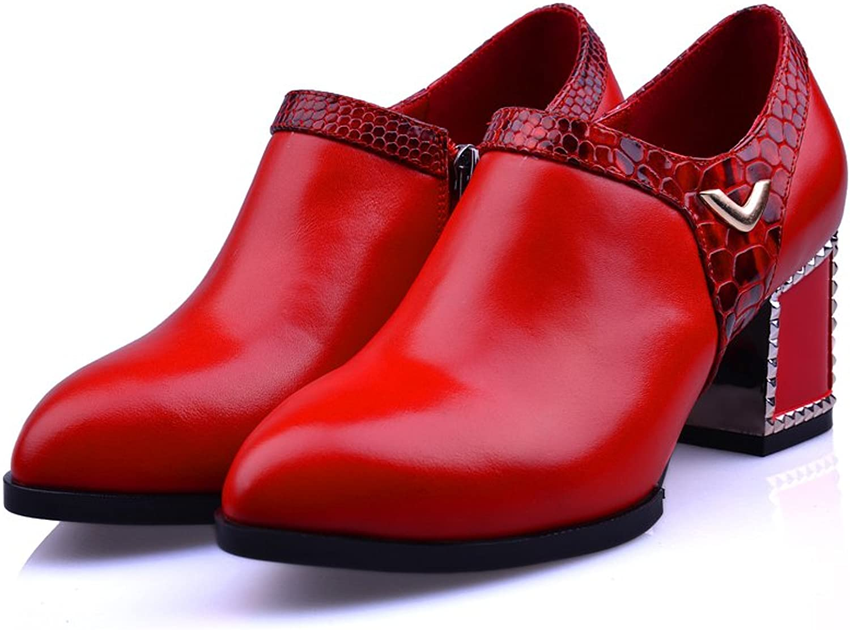 MINIVOG Chunky Heel Platform Buckle Women Ankle Booties