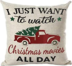 ramirar Hand Painted Watercolor Red Pickup Truck Just Watch Christmas Movies All Day Tree Decorative Throw Pillow Cover Ca...