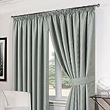 Dreamscene–lujo Tejido de Blackout térmica cinta superior cortinas con abrazaderas–huevo de pato azul, 66x 228,6cm