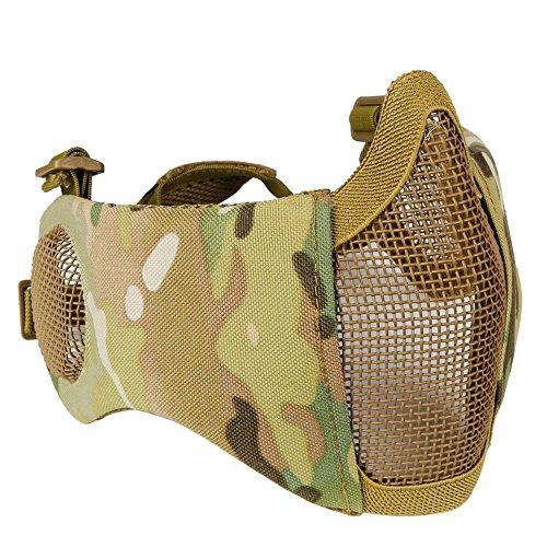 N / A Taktische Airsoft Faltbare untere Halbmetall-Stahlgittermaske mit halbem Gesichtsschutz und Gehörschutz